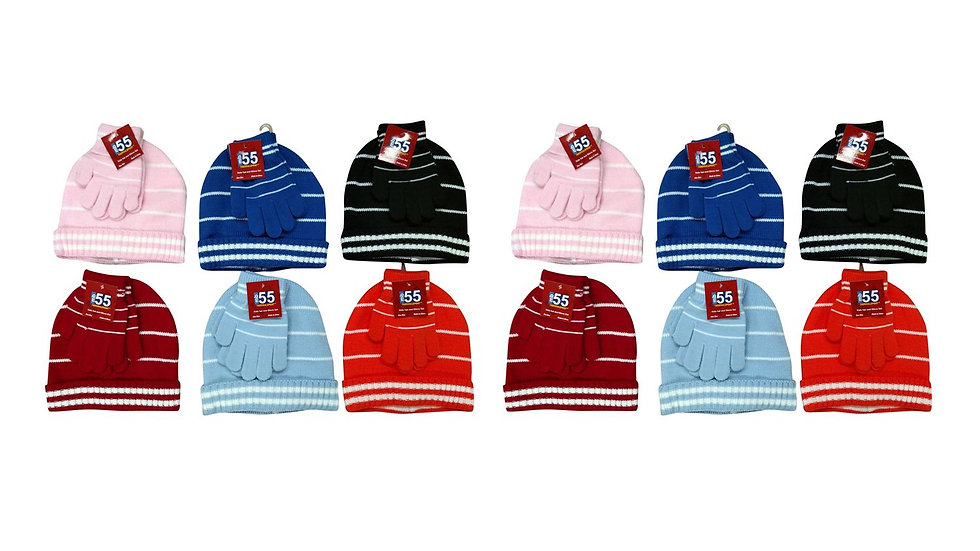 Assorted stripes kids/one size fits all stripped hat & glove set