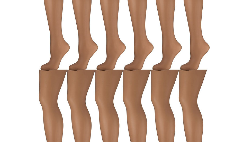 12 Pack of Womens Clear Sheer Support Pantyhose with Control Top, 12D