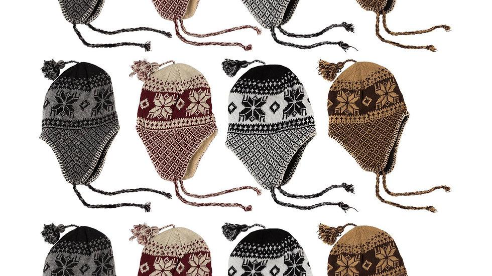 Asst. dark colors one size fits all snowflake design helmet hat