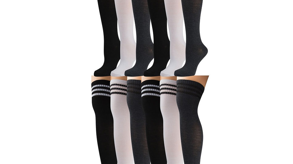 Assorted solid col. (bkwhtgry)  over the knee referee socks