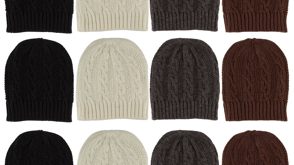 Assorted Colors one size fits all adult cable knit beanie