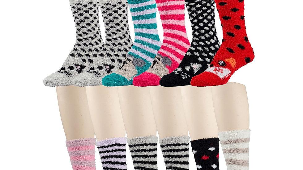 Asst. solid animal print  soft tube socks