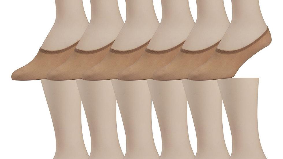 12 Pairs of Ladies Sheer Foot Socks, Transparent Footies