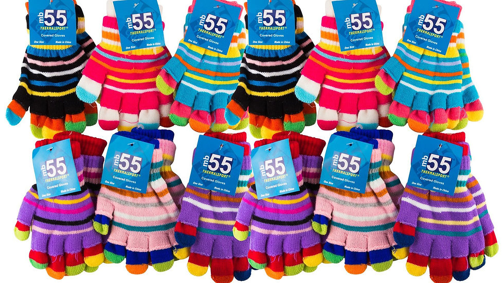 Asst. stripes one size fits all striped double gloves