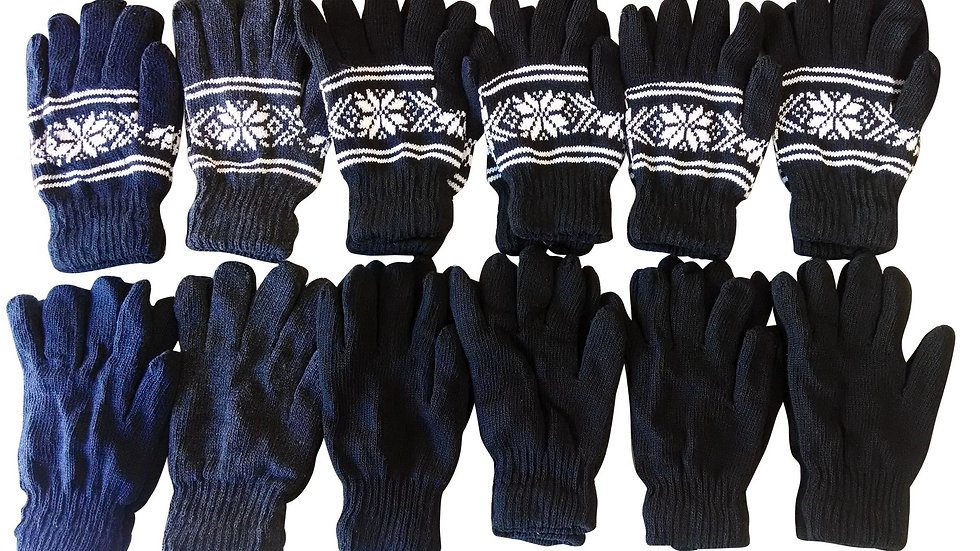 Asst. dark colors one size fits all acrylic heavy knit gloves
