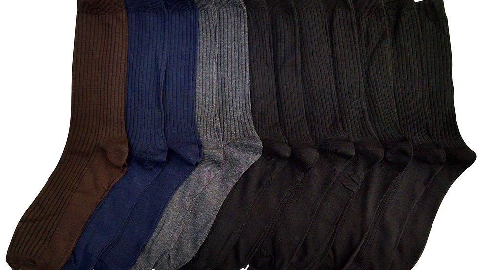 Assorted dark colors  mens ribbed dress socks