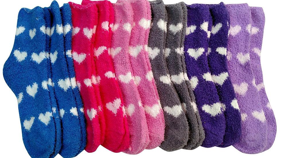 Assorted Colors 9-11 heart design soft socks
