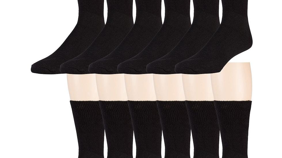 12 Pack of Ringspun Cotton Diabetic Crew Socks