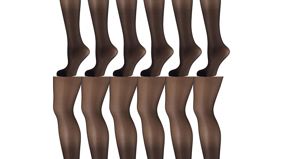 12 Pack of Sheer Support Control Top 30D Womens Pantyhose