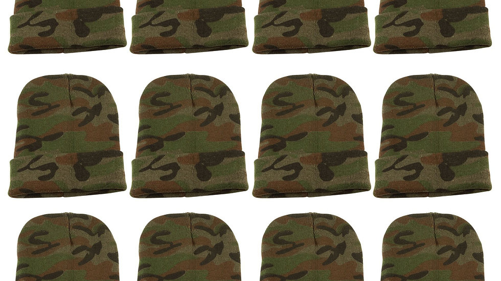 Camo one size fits all knit cuff hat