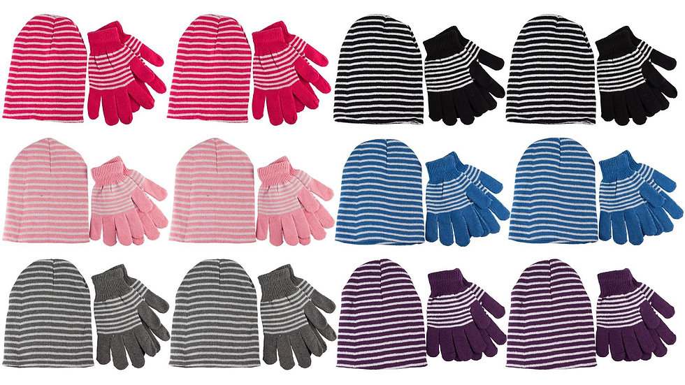 Assorted stripes ladies/one size fits all hat & glove set