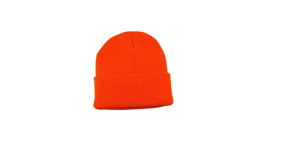 Orange one size fits all knit cuff hat