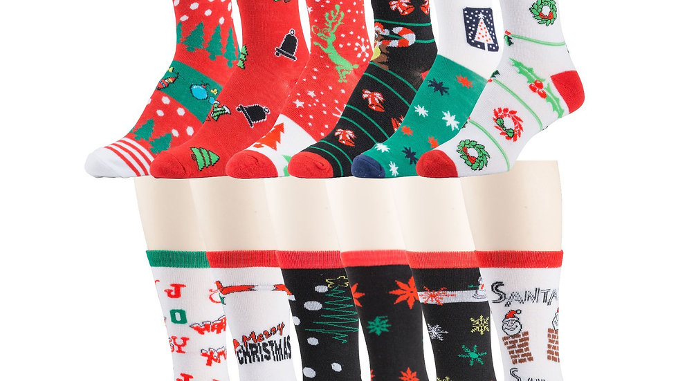 Assorted designs  xmas design crew socks