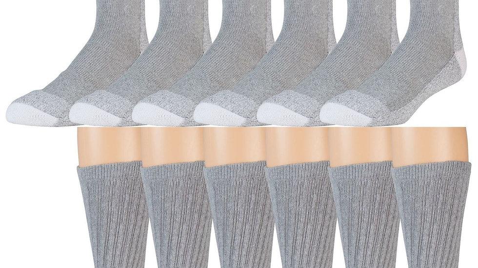 3pk Gray w/white heel & toe  heavy duty crew socks