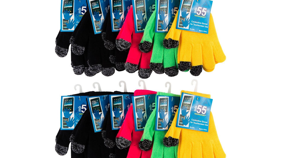 12 pk Assorted Colors one size fits all lurex touchscreen magic gloves