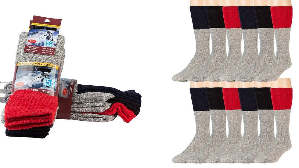 Diabetic thermal socks Gray w/asst. color tops