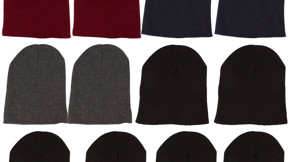 Dark Colors Adult Knit Beanie (No Cuff)