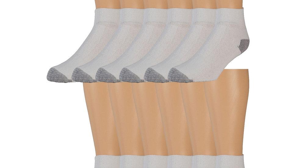 3 Pack Of White W/Gray Heel & Toe Ankle Socks