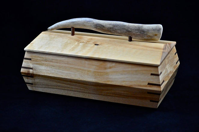 Birch box with Antler lid handle