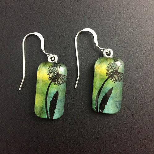 """Dandelion""tiny art earrings"