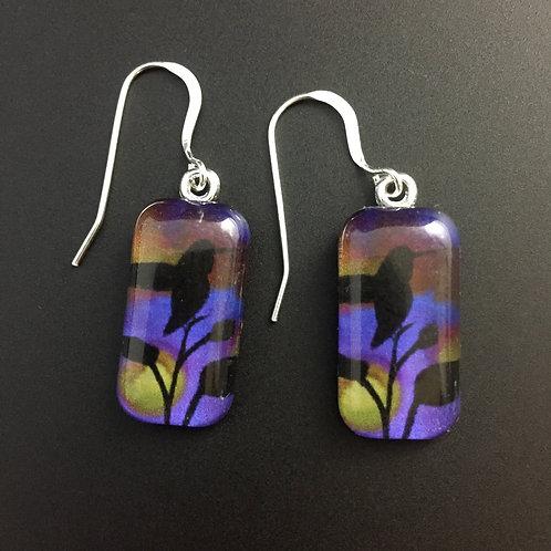 """""""Hummingbird""""tiny art earrings"""