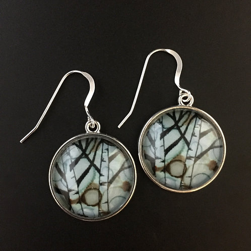 """Birch""tiny art earrings"