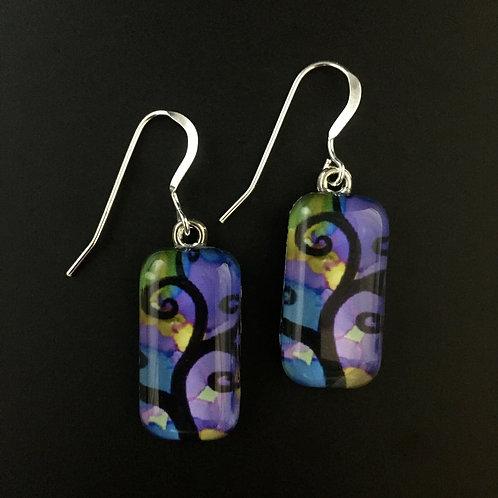 """Purple Tree""tiny art earrings"