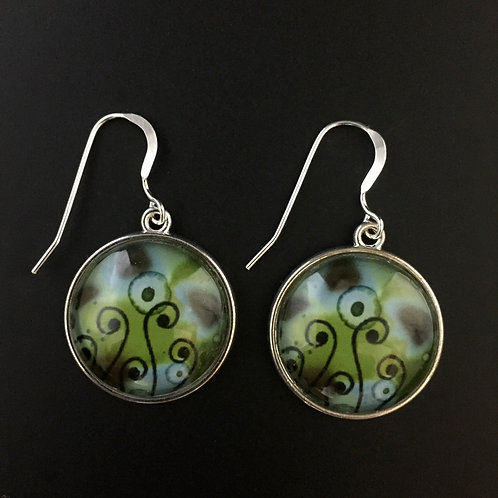 """Fiddleheads""tiny art earrings"