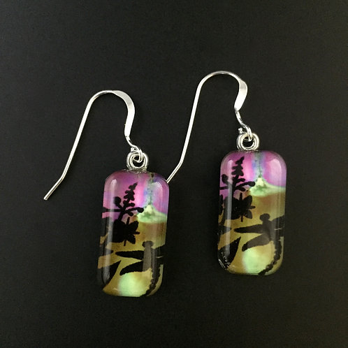 """Fireweed""tiny art earrings"