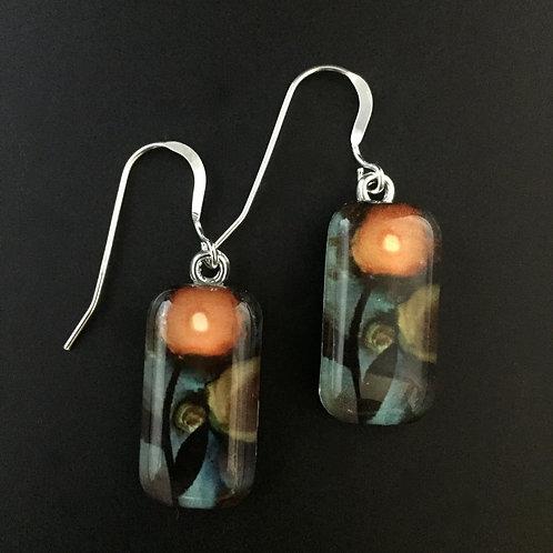 """Poppies""tiny art earrings"