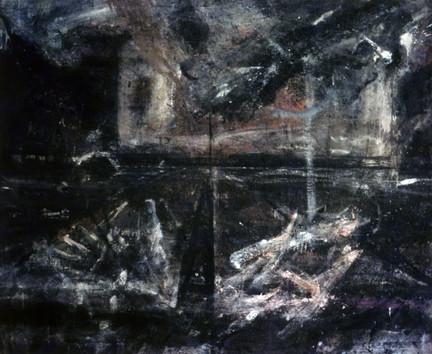 Nine Elms. Mixed media on canvas. 84_ X 96_. 1984