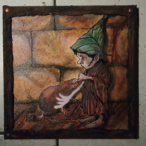 """""""Gnome au Mulot"""" (30x30cm)"""