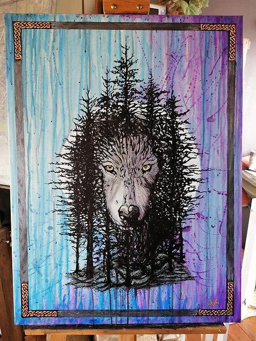 LE REGARD DE LA FORÊT - Peinture 60x80 cm