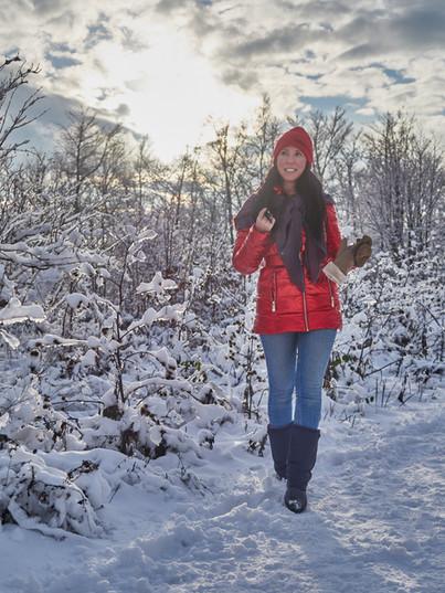 Rote Winterjacke