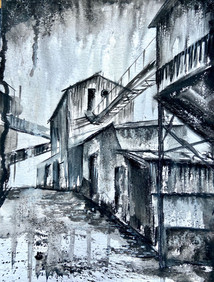 Historic buildings. Watercolour and graphite. Steel factory collection.