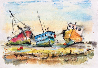 Final Journey, stranded boats at Pin Mill