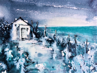 Blue Tregardock Cottage