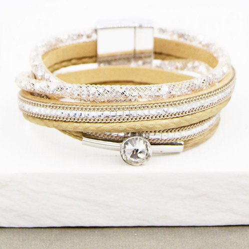 Wrap Bracelet with Crystal Feature in Beige