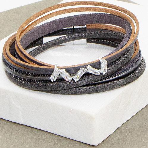 PU Wrap Bracelet with Baguette Crystal Elements
