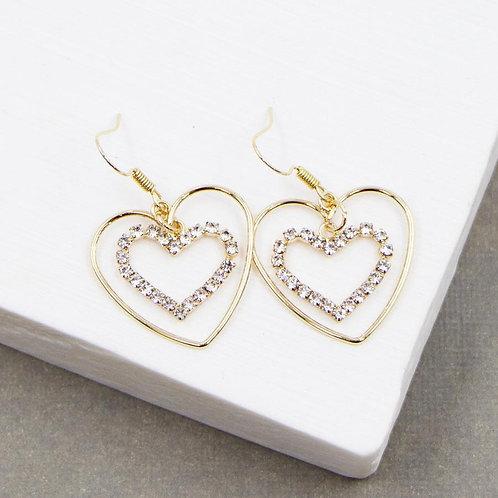 Twin Heart Hook Crystal Earrings in a Gold Finish @ Remona
