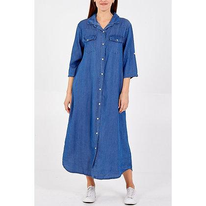 Long Button Up Denim Shirt Dress