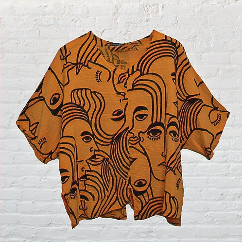 Oversized Abstract Multi Face Print Top