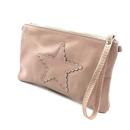 Italian Leather Star Purse in baby pink