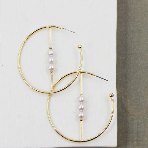 Comptemporary Hoop Earrings with Cross Bar with Pearl Beads