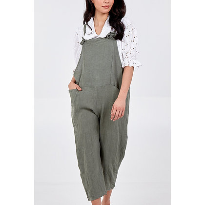 Bow Tie Linen Dungarees in Khaki