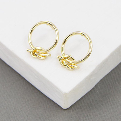 Open Circle Stud Earrings with Twist Knot Design @ Remona