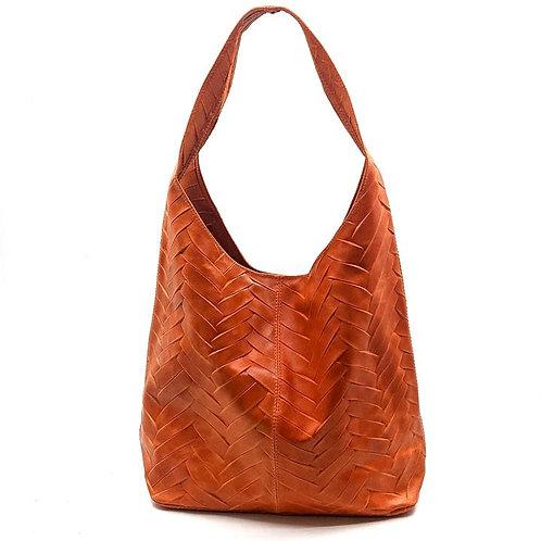 Herringbone Italian Leather Handbag