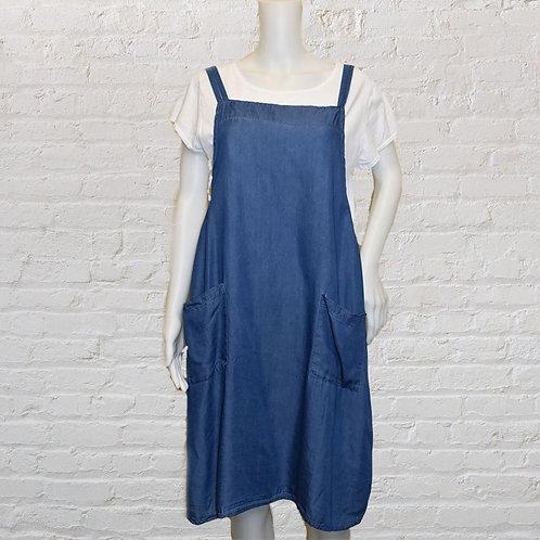 Denim Effect Pinafore Dress Set