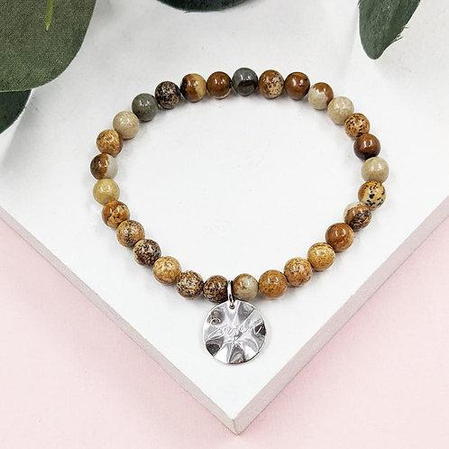 Semi-Precious Stone Bracelet with Sterling Silver Tag