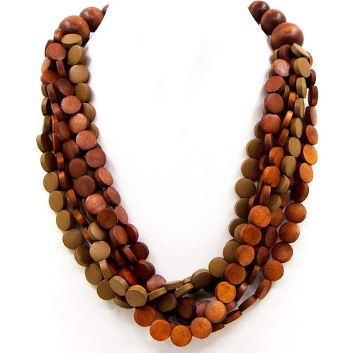 Multi Strand Wooden Button & Bead Necklace in Brown Tones
